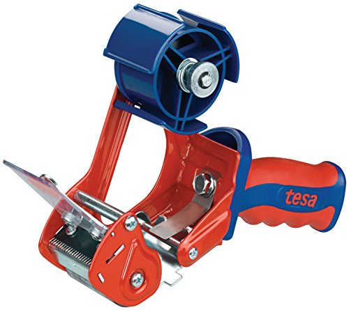 tesa 6400 Packband Handabroller COMFORT - Hochwertiger, robuster Abroller für Paketbänder - Profi-Qualität - Für Klebebänder mit bis zu 50 cm Breite