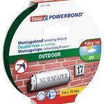 tesa Powerbond Outdoor (Doppelseitiges Montageband für den Außenbereich, Wasserfestes, starkes, UV,beständiges Klebeband, 5 m x 19 mm)